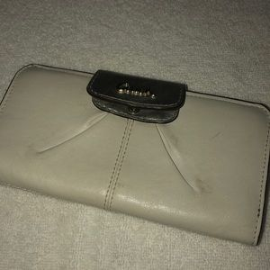 White and Silver Coach Wallet